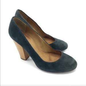 """Madewell Forest Green Suede 3"""" High Heels Size 7.5"""